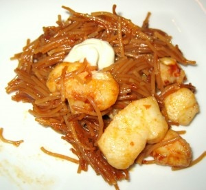monkfish shrimp pasta 300x276 Paella style pasta with monkfish and shrimp, cooked in seafood broth
