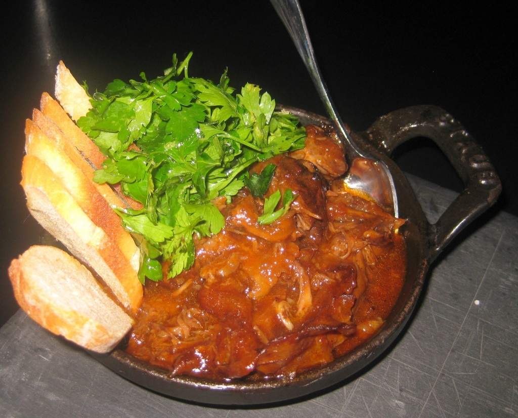 Roasted bone marrow and oxtail jam with toast, parsley and fleur de sel