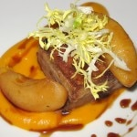 Pork belly with butternut squash and brown butter purée and sherry gastrique