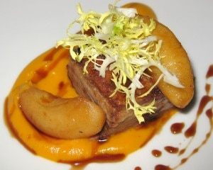 pork belly 300x240 Pork belly with butternut squash and brown butter purée and sherry gastrique