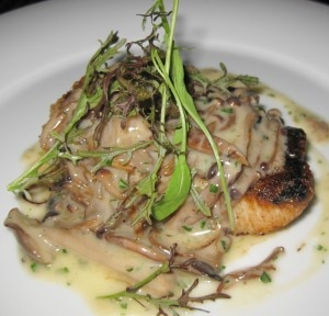 Sautéed black cod belle meuniere with sautéed mushrooms, butter, lemon and parsley