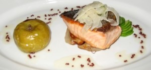 Sautéed Scottish salmon with roasted lady apple, caramelized fennel, cucumber, and citrus fennel salad