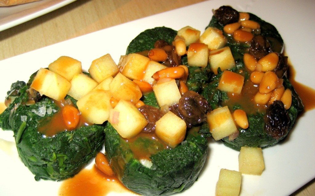 Catalan spinach, apple, pine nuts, raisins