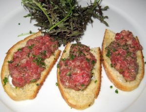 steak tartare 300x230 Steak tartare with capers, anchovies, shallots, parsley, egg yolk, Dijon, Tabasco sauce, Cognac, Worcestershire sauce