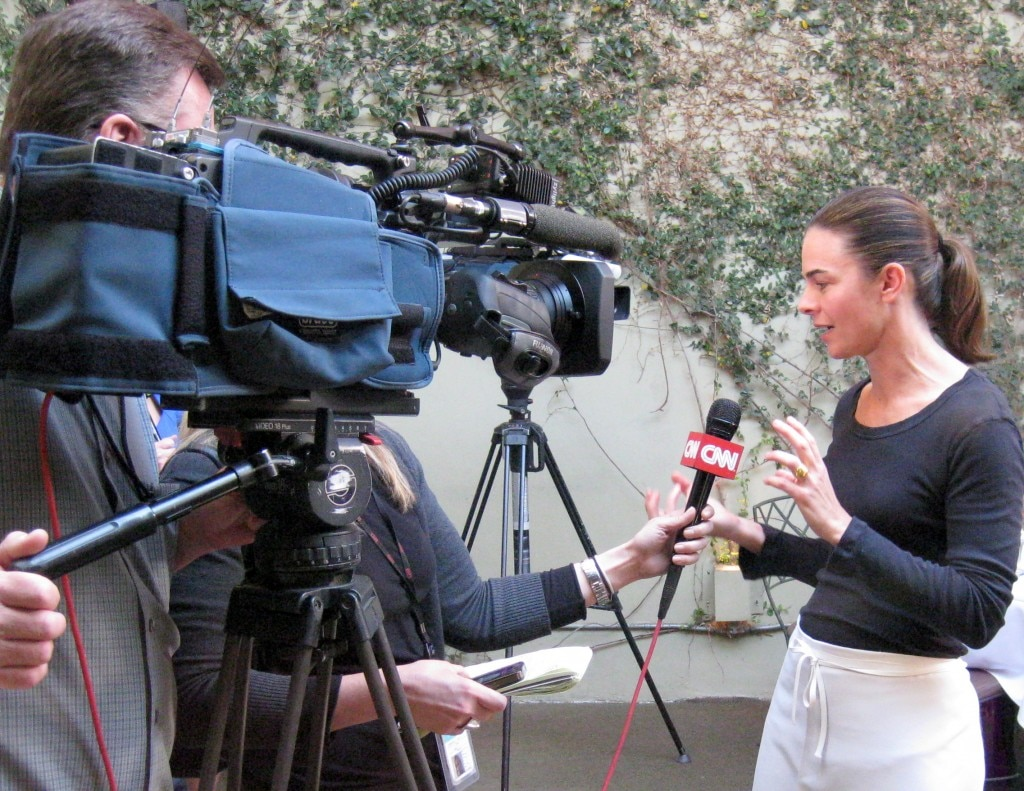 Chef Suzanne Goin of Lucques restaurant in front of the CNN camera, discussing the dinner she will be serving at the 2011 SAG Awards