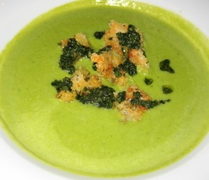 sweet pea soup 300x259 Sweet pea soup with walnut pesto croutons