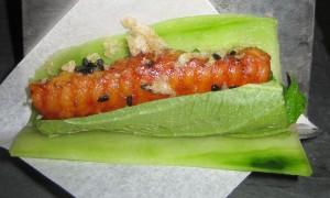 Japanese taco, grilled eel, shiso, cucumber, wasabi, chicharron