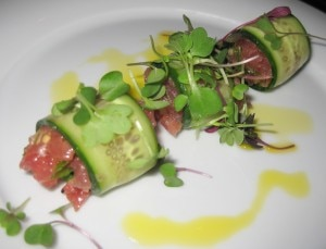 tuna tartare 300x229 Tuna tartare with blue ginger, mustard seed, mustard oil, cilantro, scallion, plum leaf and plum wine