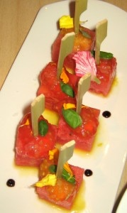 watermelon tomatoes skewers 179x300 Watermelon tomato skewers with Pedro Ximénez reduction and sexy tomato seeds