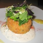 Crab cake with remoulade and fine herbs