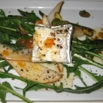 Dandelion greens with pears, Humboldt Fog goat cheese and pistachios and apricot vinaigrette