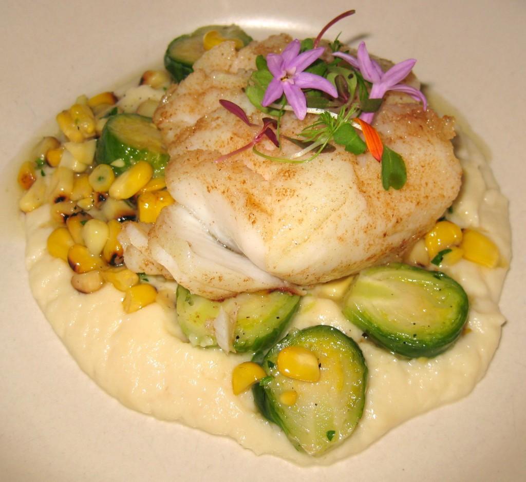 Pan seared cod, roasted corn, cauliflower purée, shaved artichokes