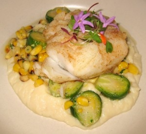 pan seared cod 300x275 Pan seared cod, roasted corn, cauliflower purée, shaved artichokes