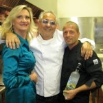 Sophie Gayot with chef/owner Larry Nicola and Grey Goose Vodka US Ambassador Guillaume Jubien