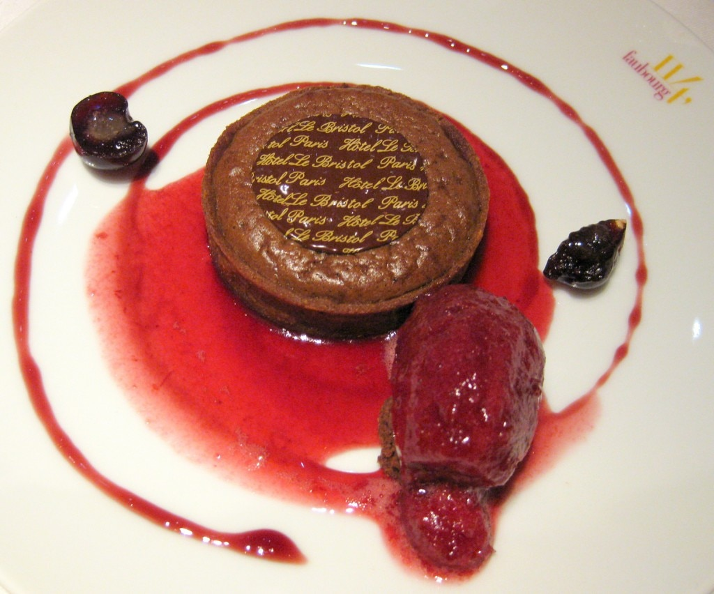 Warm Grand Cru chocolate tart with Amarena sorbet