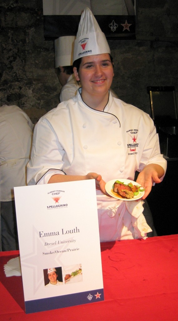 Winner Emma Louth presenting her dish