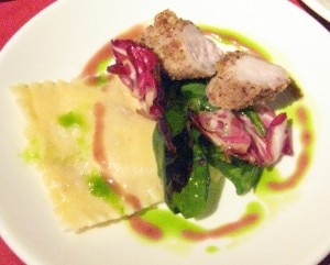 Elizabeth Freer's rabbit two ways: sweet braised rabbit ravioli with a pecan and spice encrusted tenderloin