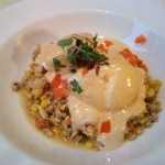 MO Hash: chicken hash with poached eggs, salsa and spicy chipotle hollandaise sauce