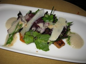 vegetable salad 300x225 Green salad accompanied with black trumpet mushrooms and hazelnuts in a foie gras emulsion