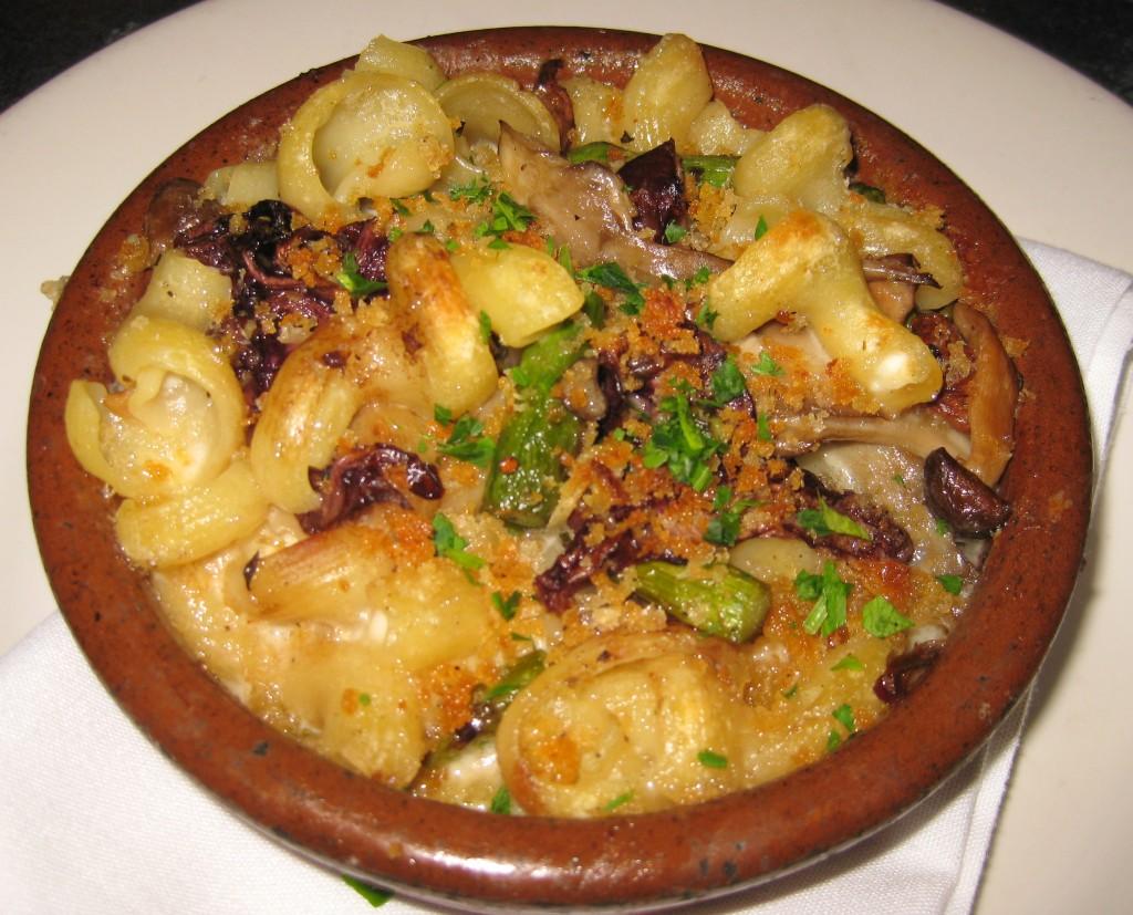 Baked torchio with radicchio, wild mushrooms, asparagus and taleggio