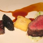 Brand Farms beef filet and short rib with Brussels sprouts, celeriac and black trumpet mushrooms