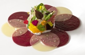 Beet Comte cheese carpaccio by chef Christophe Bellanca of Aureole NY