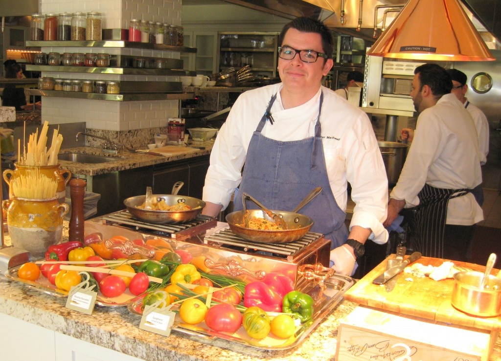 Chef Matt MacDonald in front of the pasta station