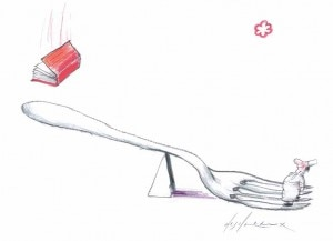 chef michelin star 300x217 A hopeful chef reaches for a Michelin star (drawing by Jean Pierre Desclozeaux, as published in the book Rouge de Honte)
