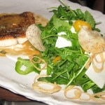 Duo of crispy fish with pea shoots, hearts of palm and Thai lobster vinaigrette