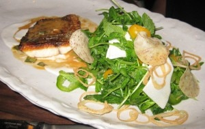 crispy fish 300x189 Duo of crispy fish with pea shoots, hearts of palm and Thai lobster vinaigrette