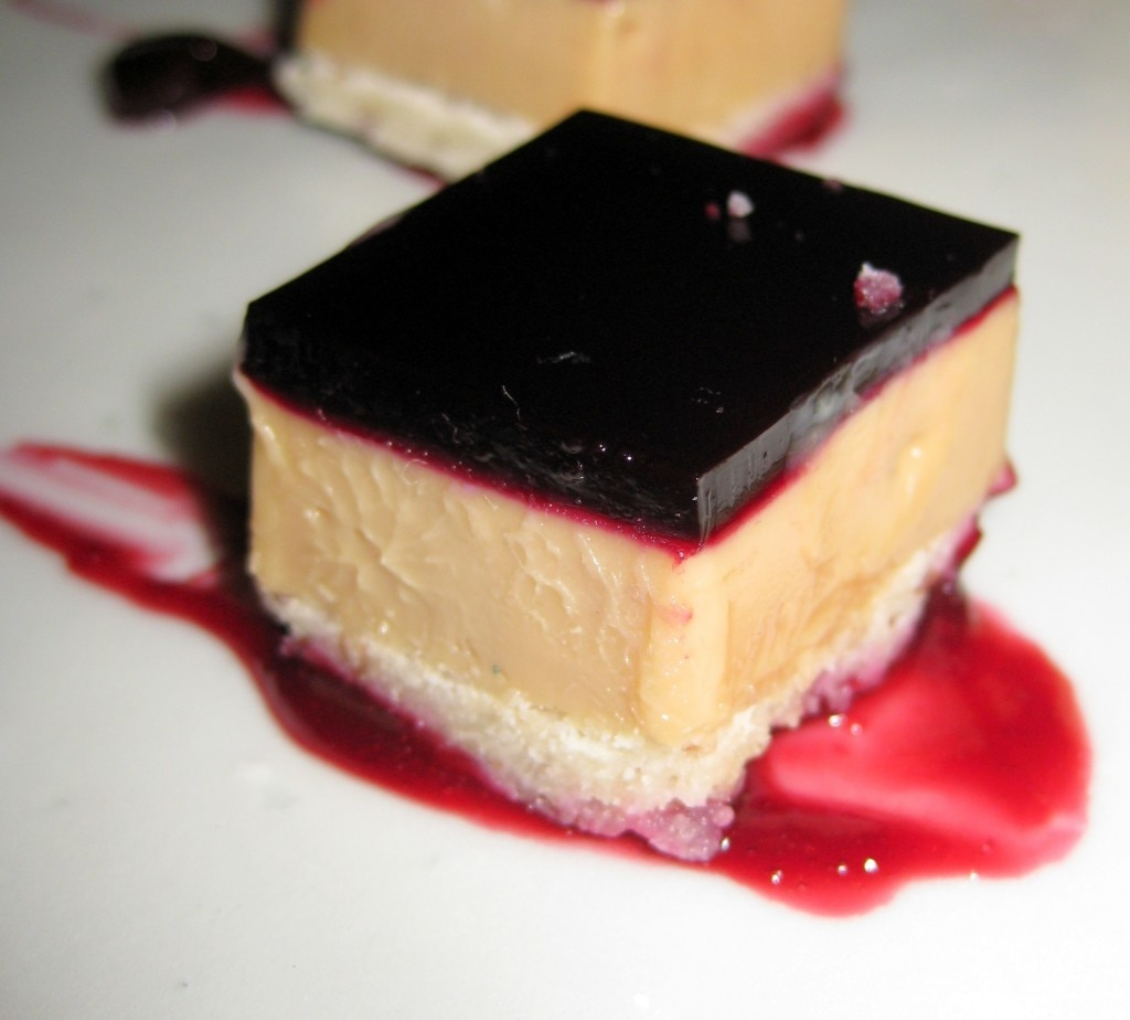 Foie gras PB&J with huckleberry gelée and hazelnut