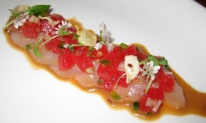 hiramasa crudo 300x179 Hiramasa crudo with compressed watermelon, fried garlic, ponzu and cilantro flowers