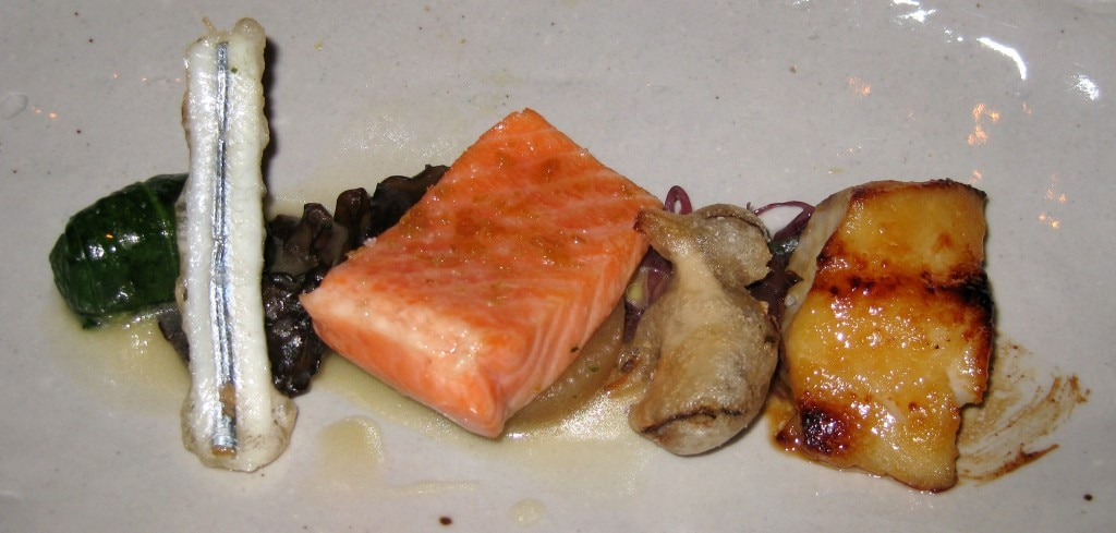 "Japanese ""3 Seas"" with miso cod, ginger-poached ocean trout belly and kisu tempura"