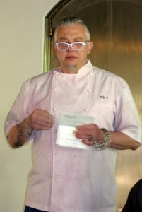 Chef Octavio Becerra presenting his dishes to the judges