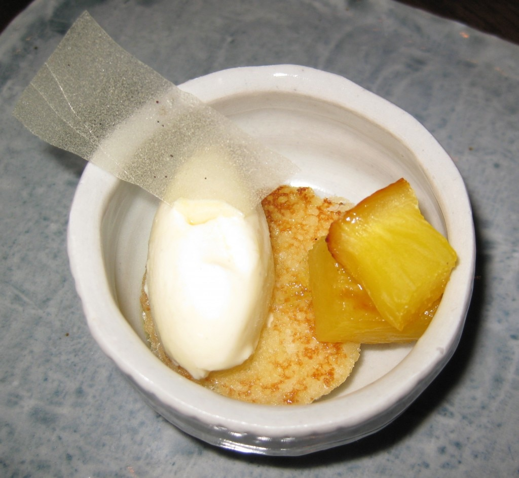 Long pepper poached pineapple with olive oil génoise cake and vanilla gelato