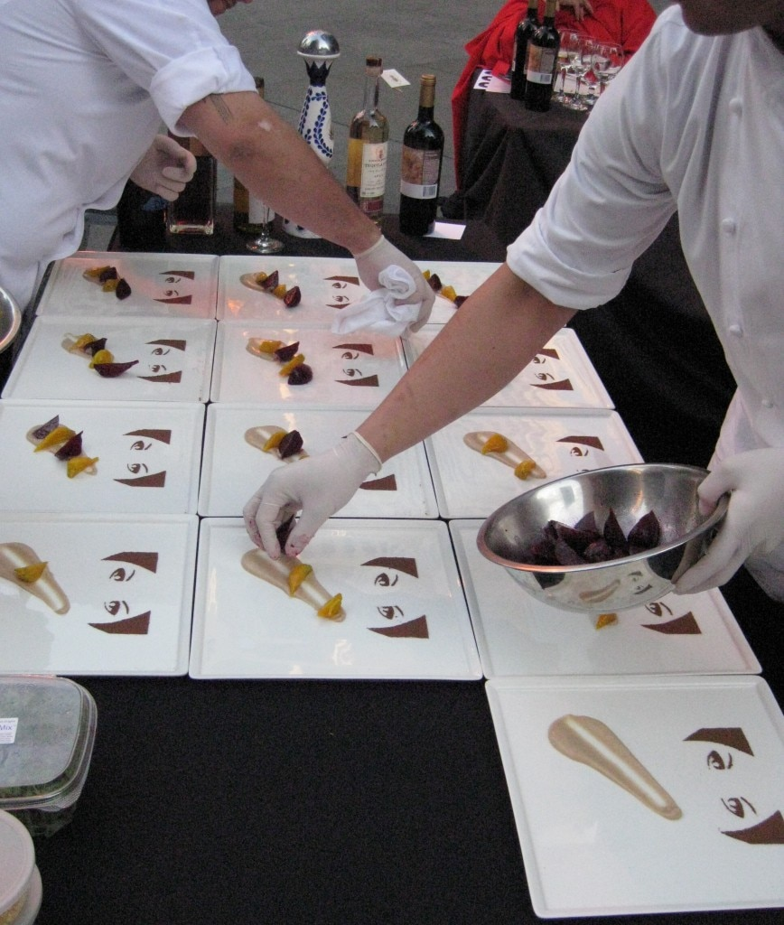The Rivera team busy plating dishes