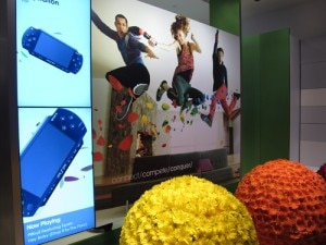 A colorful display in the new Sony store at the Westfield Century City mall
