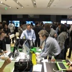Customers testing out new products at the Sony store