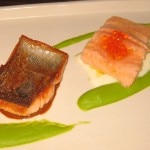 McFarland Springs trout two ways: olive oil-poached trout with crème fraiche and beurre blanc, and crispy pan-seared trout with bacon emulsion. Served with fava bean purée, marble potatoes, hedgehog mushrooms and wood sorrel.