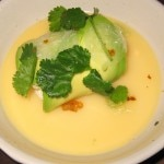Uni panna cotta with avocado, crab and curry