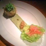 Jumbo blue crab cake with butter lettuce and shredded carrot salad, smoked avocado and pickled mustard seeds