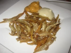 Crispy white smelts with aioli