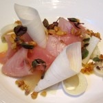 Hamachi sashimi with Hawaiian hearts of palm, Asian pear, toasted pine nuts and shiso
