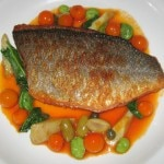 Loup de mer: sautéed sea bass with eggplant, tomato and zucchini