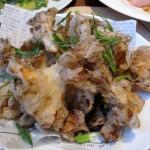 Maitake mushroom tempura with yuzu salt and green onion mousseline