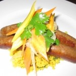 Merguez: Moroccan lamb sausage with couscous and baby carrot salad