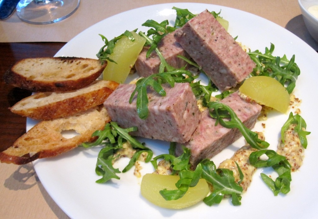 House-made pâté de campagne with green apple, celery root, grain mustard and arugula