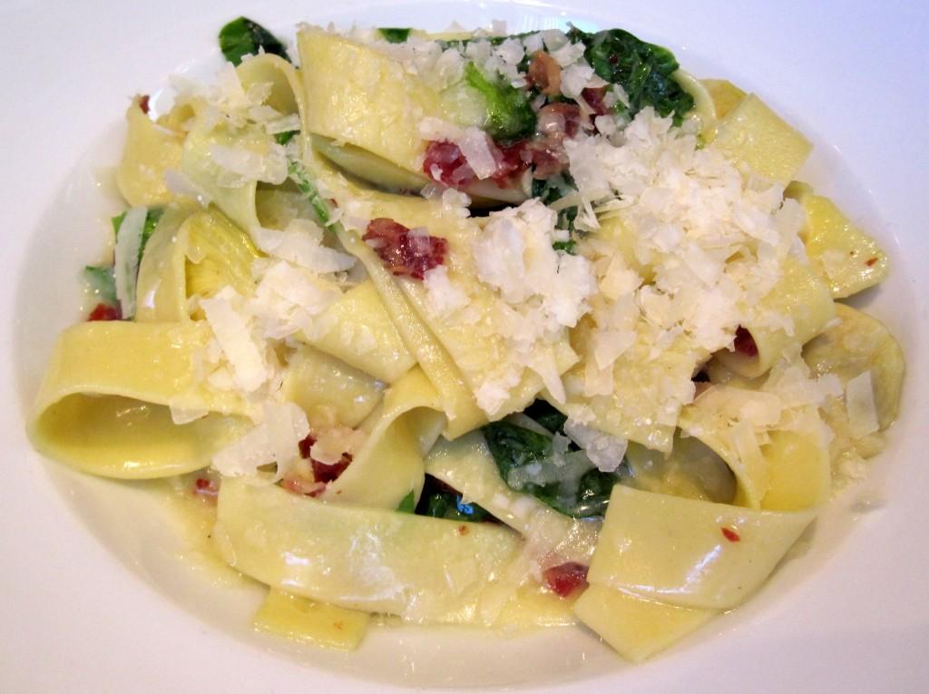 Hand-cut tagliatelle with pea leaves, artichokes, pancetta, Meyer lemon and parmesan