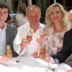 At Spago Beverly Hills. From left to right: Stephen Golding (Wolfgang Puck Culinary Iced Coffees - Director of Communications); chef Wolfgang Puck; Sophie Gayot; Craig Lieberman (Wolfgang Puck Culinary Iced Coffees - President)