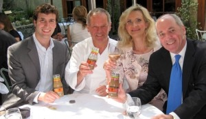 wolfgang puck sophie gayot craig lieberman 300x174 At Spago Beverly Hills. From left to right: Stephen Golding (Wolfgang Puck Culinary Iced Coffees   Director of Communications); chef Wolfgang Puck; Sophie Gayot; Craig Lieberman (Wolfgang Puck Culinary Iced Coffees   President)